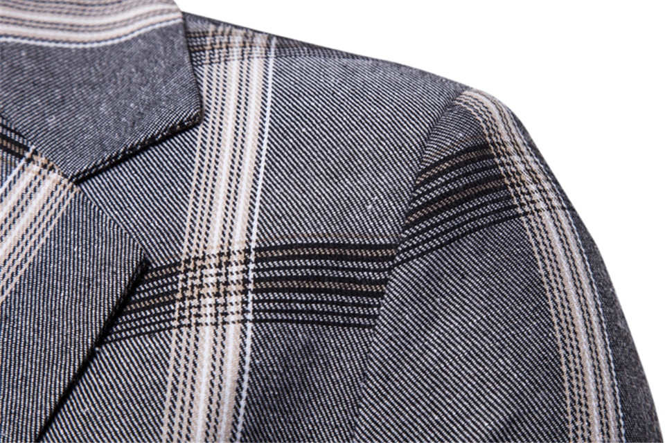 Men's Casual Blazer in Plaid Print